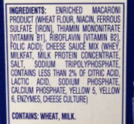 Store-bought macaroni and cheese ingredients