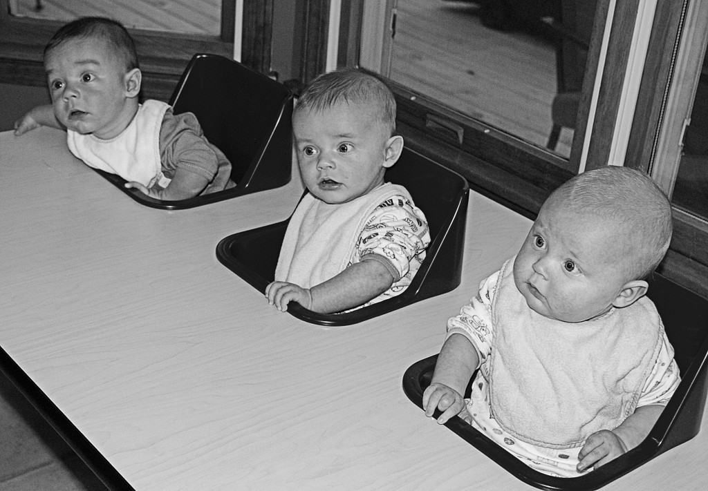 The triplet's feeding table.